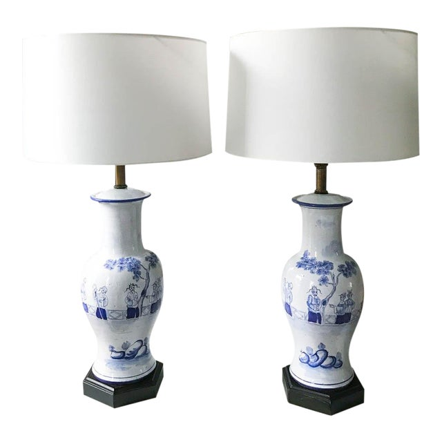 Pair, Frederick Cooper Style Blue and White Asian Lamps For Sale