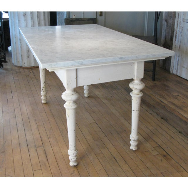 Americana Antique 19th Century Refectory Table With Venatino Marble Top For Sale - Image 3 of 9