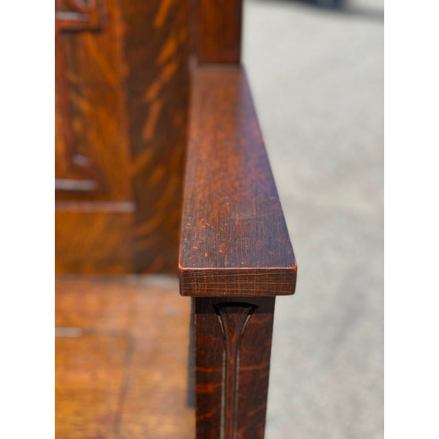 Antique Arts & Crafts Quartersawn Oak Carved Hall Tree Bench W/ Mirror For Sale - Image 10 of 13