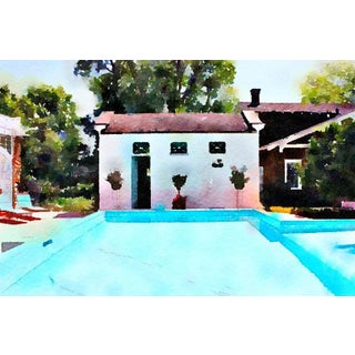 Pool House Swimming Pool - Pool Architecture - Digital Watercolor Print From Original Color Photograph by Suzanne MacCrone Rogers For Sale