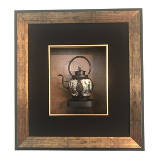 Painted Asian Teapot in a Shadow Box Display For Sale