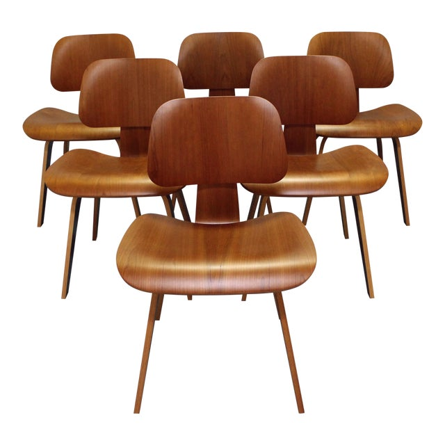 Herman Miller Eames Molded Plywood Dining Chairs Set Of