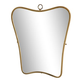 1950s Mid-Century Minimal Brass Wall Mirror, Italy For Sale