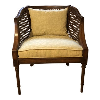 1950s Mid Century Modern Caned Cotton-Upholstered Club Chair For Sale