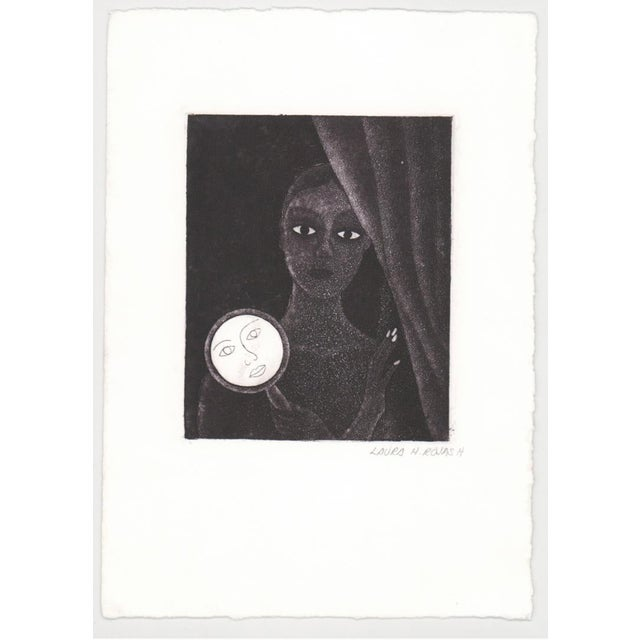 Laura Rojas Aquatint of Lady Holding Mirror For Sale - Image 4 of 6