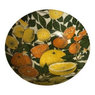 Mid-Century Modern Fiberglass Citrus Pattern Serving Bowl For Sale