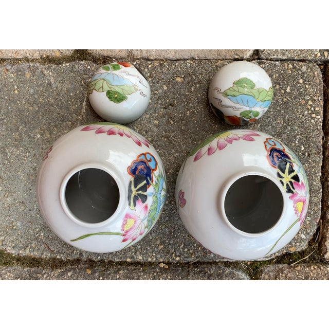 Vintage Chinoiserie Lidded Jars - a Pair For Sale - Image 9 of 11