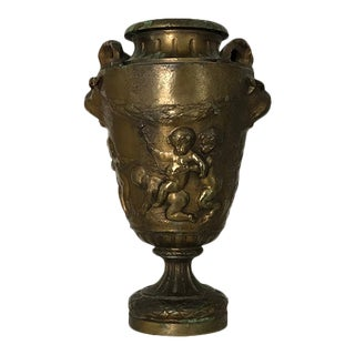 French Bronze Bacchanal Urn With Rams Heads and Putti For Sale