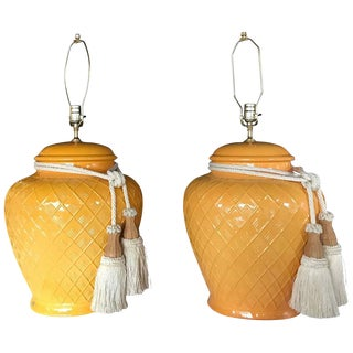 Yellow Glazed Ceramic Jardinière Lidded Vase Lamps - A Pair For Sale