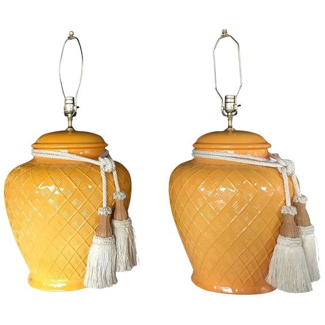 Yellow Glazed Ceramic Jardinière Lidded Vase Lamps - A Pair For Sale