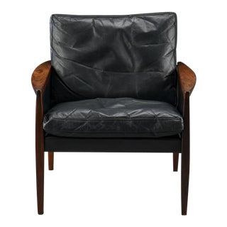 Vintage Rosewood & Leather Armchair by Hans Olsen for the Juul-Kristensen Brothers For Sale