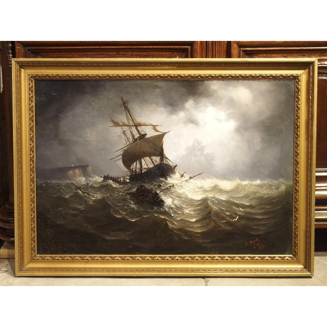 Antique Oil on Canvas Marine Painting From Normandy France, 1883 For Sale - Image 13 of 13