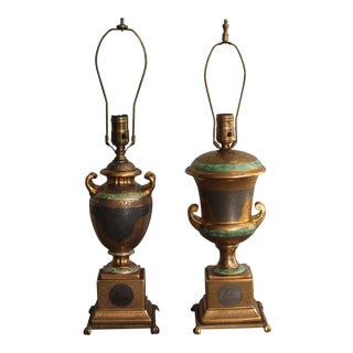 Victoria Czech 24k Gold Platinum Crown Encrusted Bronze Porcelain Table Lamps - A Pair For Sale