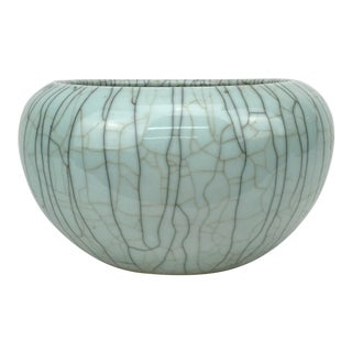 Antique Chinese Qing Dynasty Celadon Crackle Ware Matte Aqua Glaze Cachepot For Sale