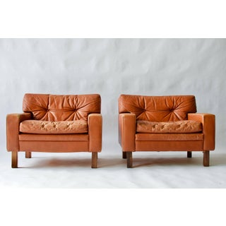 Pair of Low and Wide Danish Leather Lounge Chairs Preview