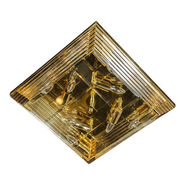 Mid-Century Modernist Brass and Glass Rod Square Flush Mount Chandelier For Sale