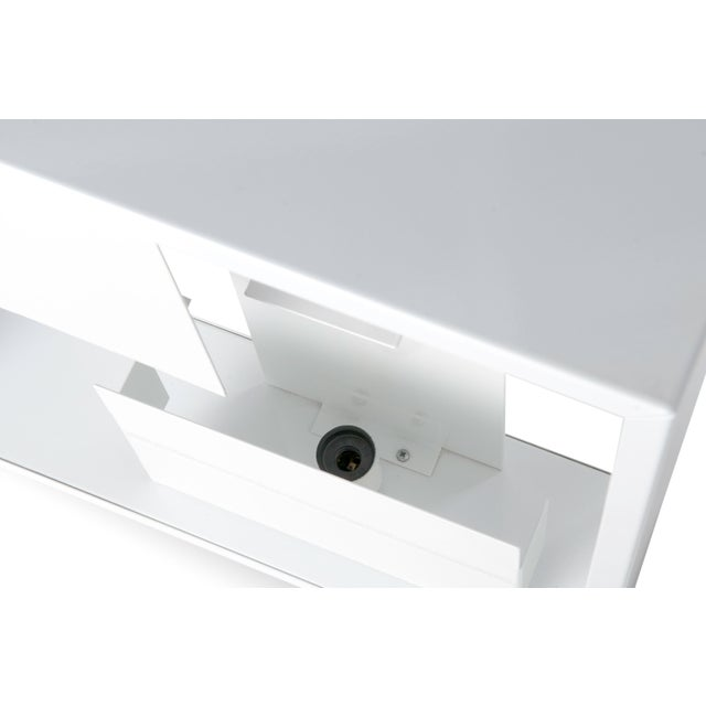 Contemporary White Enameled Metal Table Lamp For Sale - Image 3 of 4