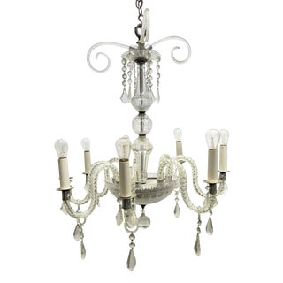 Vintage 8 Arm Crystal Chandelier With Nickel Base For Sale