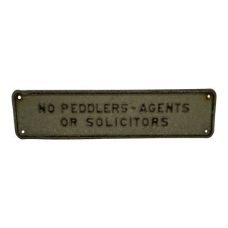"Vintage 1960s ""No Peddlers - Agents or Solicitors"" Metal Sign For Sale"