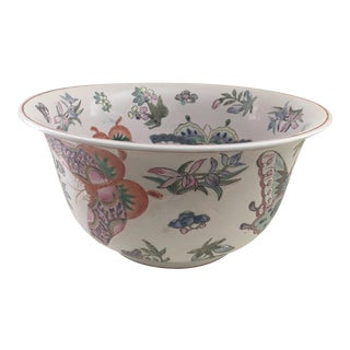 Hand Painted Chinese Butterfly Floral Bowl