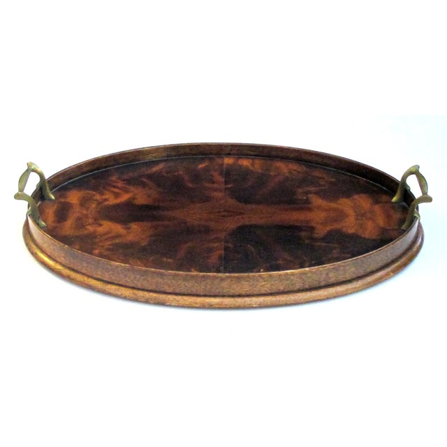 Early 20th Century A Handsome English Edwardian Flame Mahogany Veneered Oval Tray With Brass Handles For Sale - Image 5 of 5