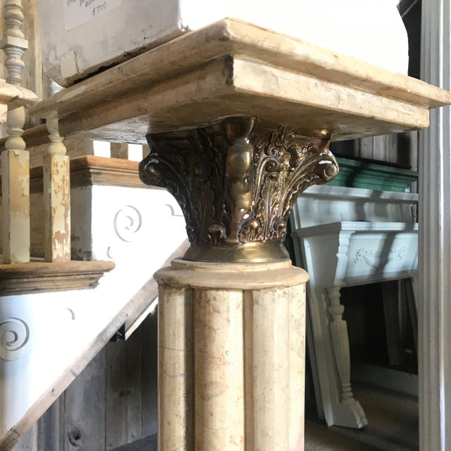 Mid 19th Century 19th Century Marble & Bronze Pedestals Columns-a Pair For Sale - Image 5 of 11