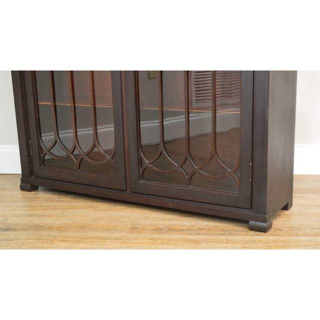 Antique Gothic Inspired Mahogany 2 Door Bookcase For Sale - Image 12 of 12