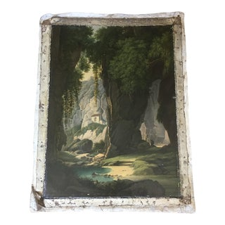 Antique European Landscape Cliffside Painting