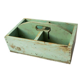 1940s Shabby Chic Mint Green Berry Basket For Sale