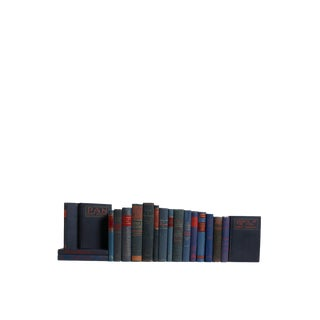 Midcentury Blue With Red-Accents : Set of Twenty Decorative Books