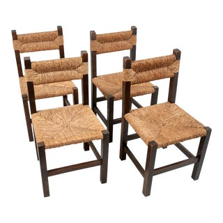 1940's French Rustic Rush Chairs- Set of 4 For Sale
