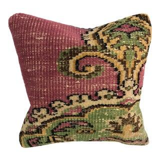 Turkish Floral Design Handmade Vintage Oushak Rug Pillow For Sale