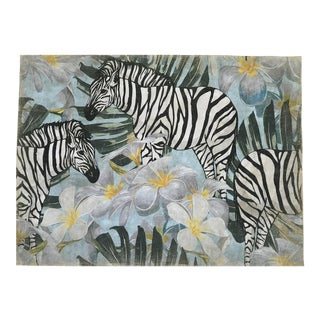 "Hand Painted French Panel "" Zebra Fleuri"" For Sale"