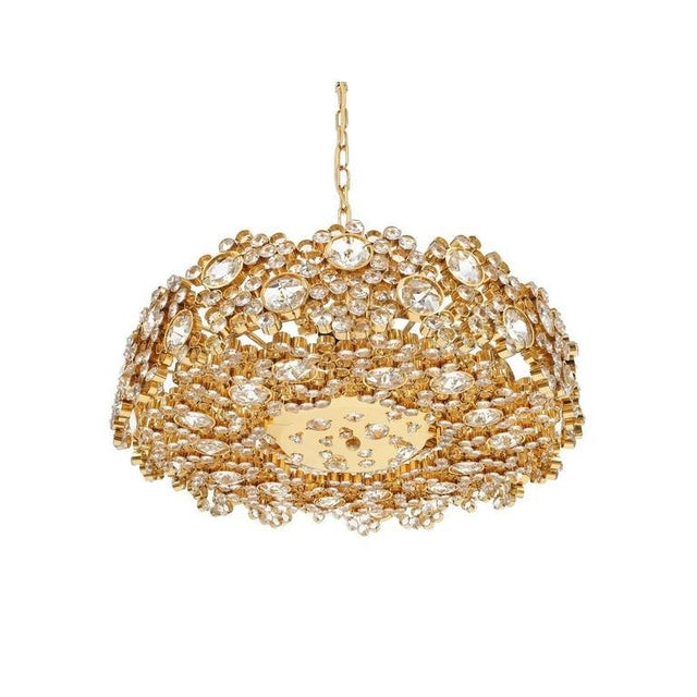 Pair Palwa Crystal Glass Gold Plated Brass Chandeliers Refurbished Lamps, 1960 For Sale - Image 10 of 10