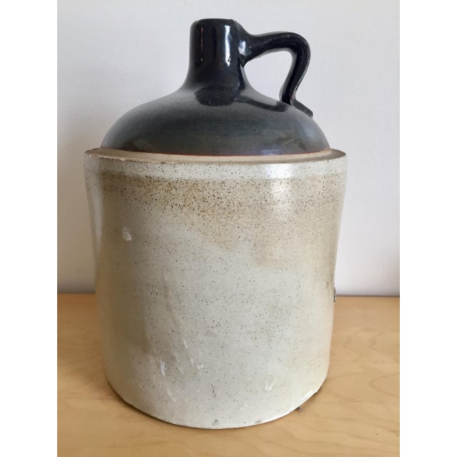 Americana Antique Primitive Stoneware Blue Ribbon Jug For Sale - Image 3 of 11