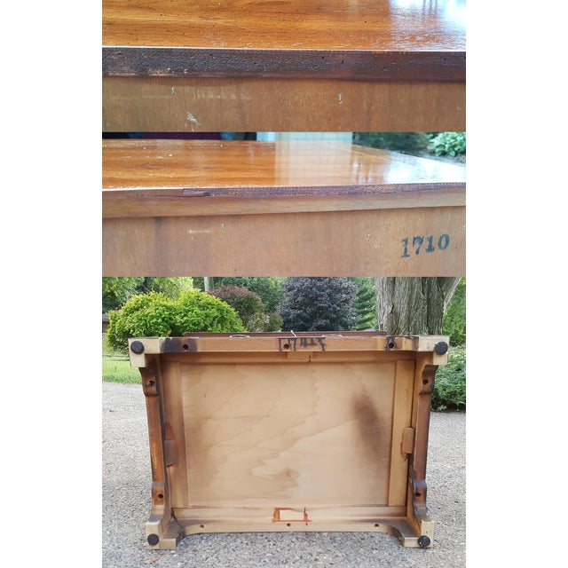 Vintage Henredon Chippendale Style Banded Walnut Nightstands-A Pair For Sale - Image 10 of 13