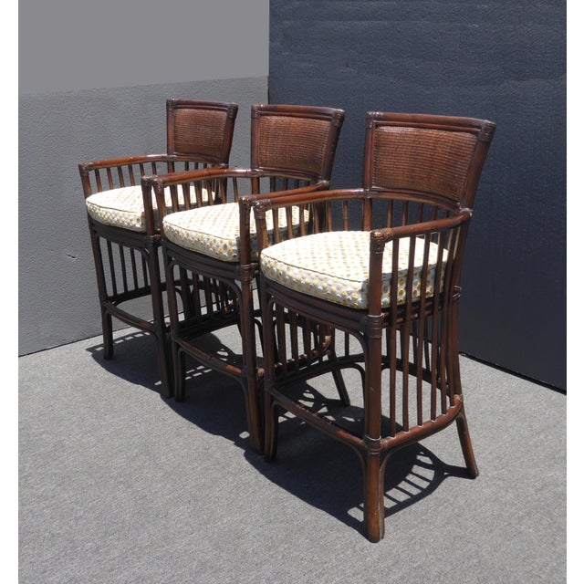 1990s Vintage David Francis Tradewinds Tiki Palm Beach Rattan Bar Stools - Set of 3 For Sale - Image 5 of 12