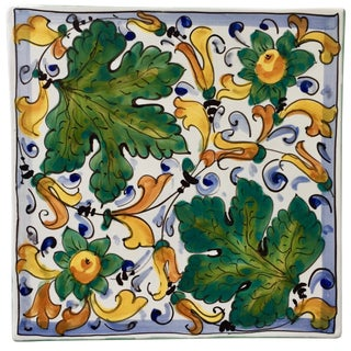 "Italian Hand-Painted 9""Ceramic Trivet/Wall Plaque For Sale"