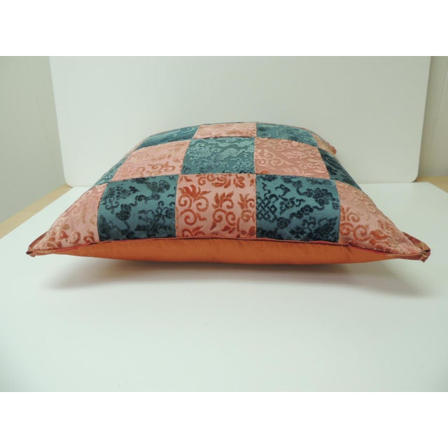Pink and Blue Romance Through the Gilded Age's Asian Textiles Patchwork Pillow For Sale - Image 4 of 6