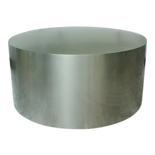 Milo Baughman Brushed Steel Drum Table For Sale
