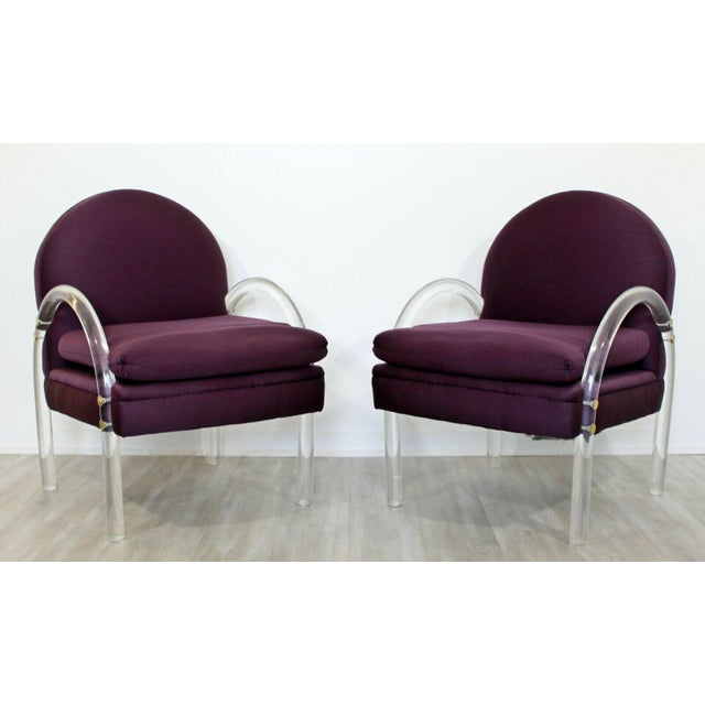 Purple Mid Century Modern Pair Pace Lucite Armchairs Charles Hollis Jones Style 1970s For Sale - Image 8 of 8