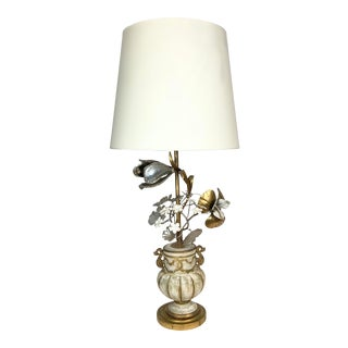 Gilt Lamp With 3-Dimensional Over-Scale Metal Flowers For Sale