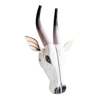 20th Century Folk Art Ceremonial S. India Wood Cow Mask For Sale