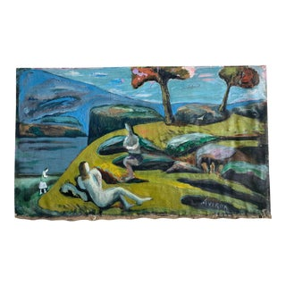 1930s Modernist Expressionist Landscape with Figures Oil Painting by Joachim Aviron For Sale