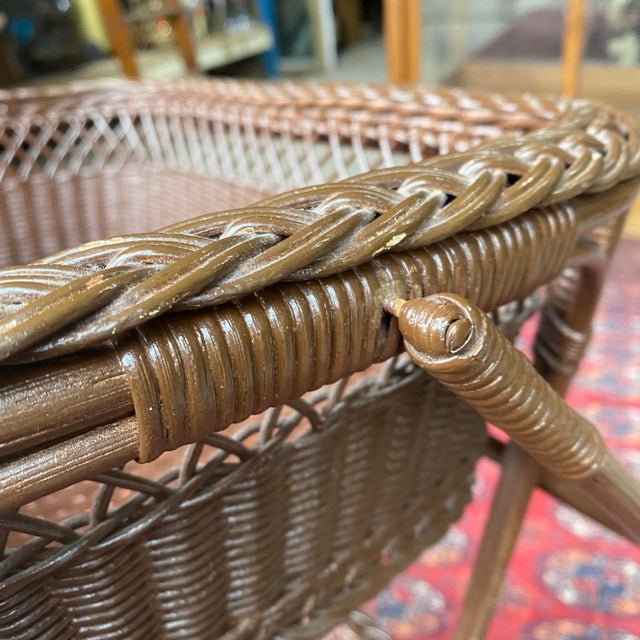 Wicker Vintage Victorian Wicker Rattan Basket Sewing Stand For Sale - Image 7 of 11