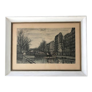 """Canal St. Martin"" Paris Cityscape Lithograph by Bernard Buffet For Sale"