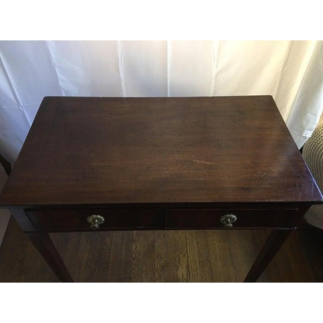 English English Mahogany Side Table with Two Drawers on Tapered Legs, circa 1800 For Sale - Image 3 of 8