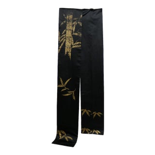 Vintage Black Silk Japanese Obi With Gold Bamboo Hand Painted Design For Sale