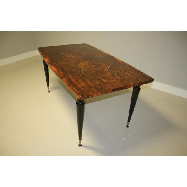 1940s French Art Deco Exotic Burl Walnut Writing Desk / Dining Table For Sale - Image 11 of 13