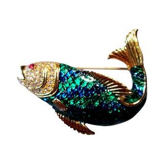 Enamel & Rhinestone Fish Brooch